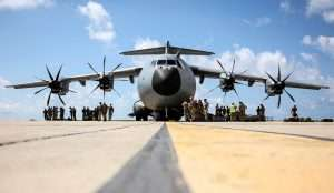 Alpha Company, 40 Commando Royal Marines, boarding an RAF A400M Atlas to fly from Barbados into the British Virgin Islands