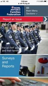 Snapshot of the RAF FF website on a smartphone