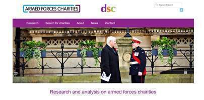 Screendrop of the Armed Forces Charities website homepage