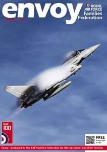 Front cover image of the summer edition of Envoy magazine showing the Typhoon Display Pilot putting his aircraft through it's paces.