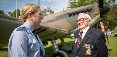 LAC Gemma Williamson, left, chats to Second World War RAF veteran, Ray Taylor from Cwmparc