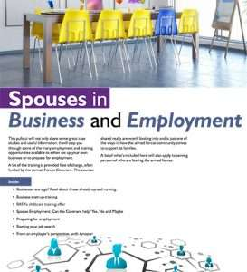 Pullout section front page for Spouses in Business and Employment.