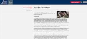 Screendrop of the FAM FAQS section on the Families Federation's website.