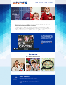 Screendrop of the Forces Children's Education website
