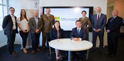 Minister for the Armed Forces, Mark Lancaster at Microsoft HQ today.