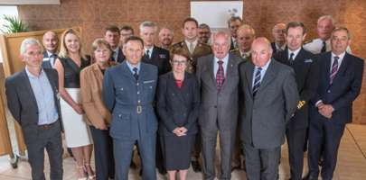 Representatives of Norfolk County Council, with commanding officers of the RAF, Army and Navy and Norfolk Armed Forces Covenant Board members at Carrow Road. Photo : Steve Adams