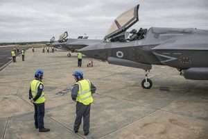 three Royal Air Force F-35B Lightning from 617 Sqn preparing to take off from RAF Marham to join the RAF100 centenary flypast