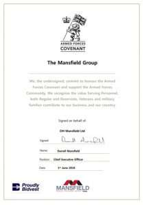 Front page of the Mansfield Group's signed covenant
