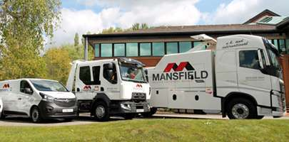 Set of Mansfield breakdown vehicles in a line