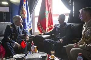 Inspector General of the Morrocan Forces Royales Air Brigadier General El Abed Alaoui Bouhamid meeting with Air Commodore Mark Jeffery OBE and Defence Attachè Lieutenant Colonel Alastair Bryant