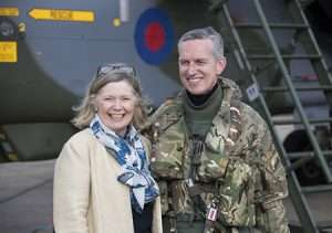 CAS, Sir Stephen Hillier and Lady Hillier celebrating after returning from the final farewell tour to Scotland.