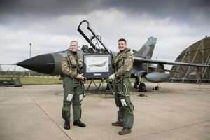 The Station Commander of RAF Marham, Group Captain Townsend presented a print to CAS, Sir Stephen Hillier after returning from the Final Farewell Tour to Scotland.