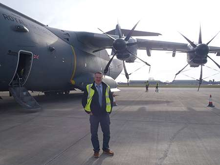 James Godolphin, Royal Mail Manager next to A400M