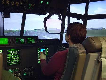 Eleanor Clarke, Interserve Training Manager in C130 simulator