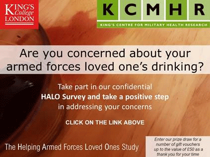 Poster for: Are you concerned about your armed forces loved one's drinking? HALO survey.