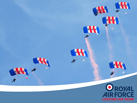 The RAF Falcons, the UK's premier military parachute display team.