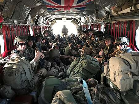 A CH47 on Op NEWCOMBE CH47 transporting French personnel as part of the UK support to the French Operation BARKHANE.