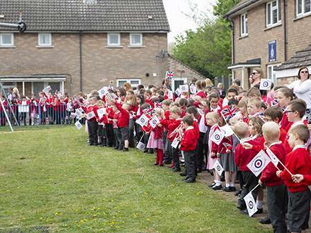 Image shows Children from Wittering Primary School waiting for HRH The Countess of Wessex.