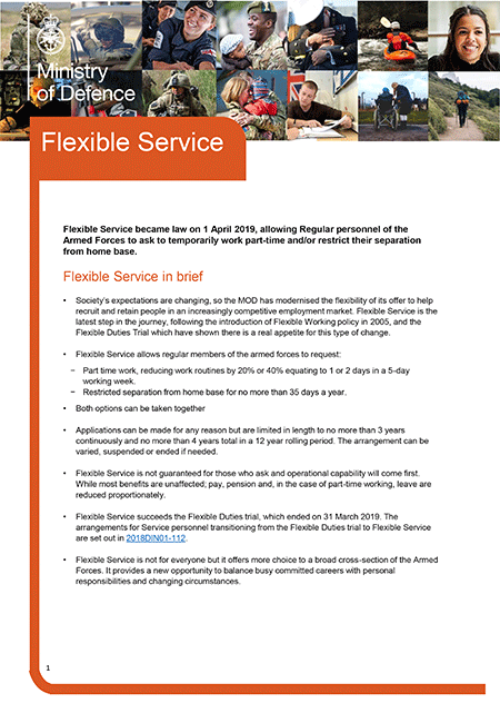 Image of front page of 8 page pdf on Flexible working