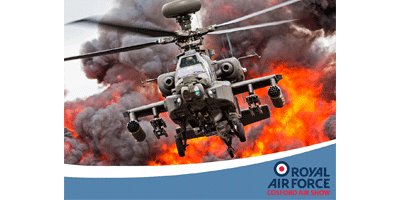 Image of Apache gunship helicopter with flames and smoke in background