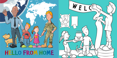 Image shows HIVE colouring sheet and book cover for Hello from Home