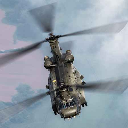 Image shows RAF Chinook flying
