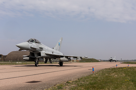 RAF Typhoons taking of for Baltic mission