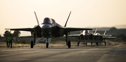 617 Squadron F-35B Lightning II's arrive at Royal Air Force Akrotiri to take part in EX LIGHTNING DAWN