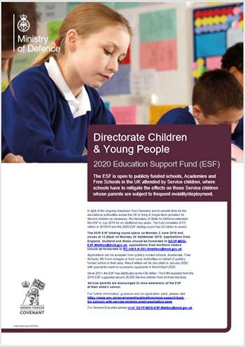 Image shows Directorate Children and Young People (DCYP) poster for 2020 MOD Education Support Fund (ESF)