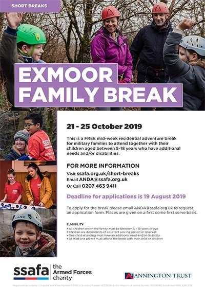 SSAFA Family Break poster 2019