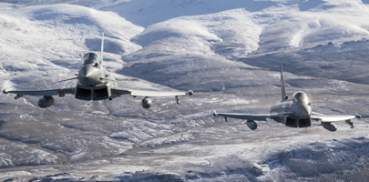 1435 Flight Typhoon FGR4 pair flying over West Falkland island during a routine training flight.