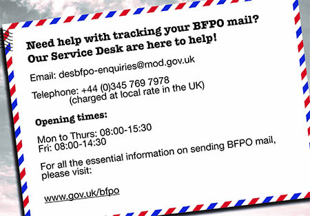 Image shows BFPO postcard on mail tracking