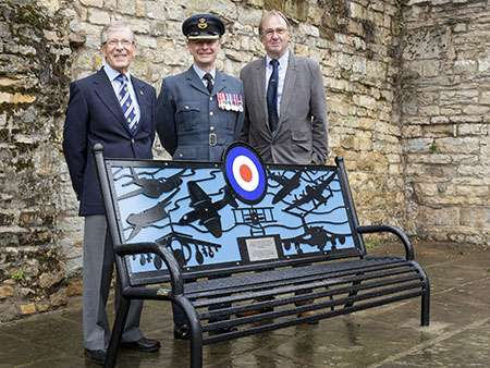 Memorial Bench in Stamford Memorial Bench in Stamford, image shows Cllr Tony Story, RAF Wittering's Station commander Group Captain Tony Keeling and Don Lambert