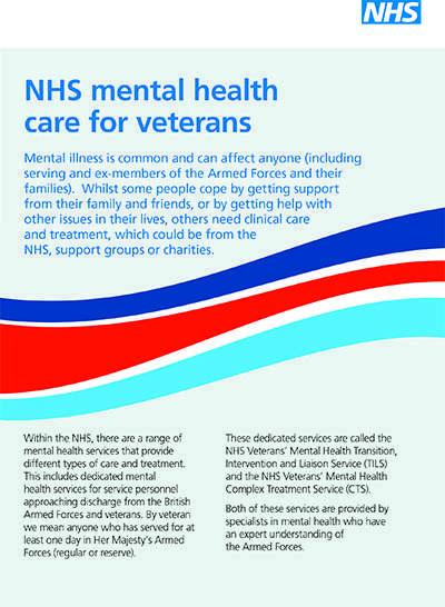 Image shows NHS Veterans' Mental Health leaflet cover