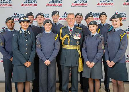 Image shows (Centre) Air Chief Marshal Sir Stephen Hillier meets the 2019 RAF Association Flying Scholars (left to right) Milan Gandhi, Maleha Khan, Robin Dalton, Allan Haddow, Thomas Grieves, Alfie Williams, Ben Wober, Joe Stevens, Olivia Brown, Alex Braybrook and Abbi Flynn, at the RAF Association's Annual Conference.