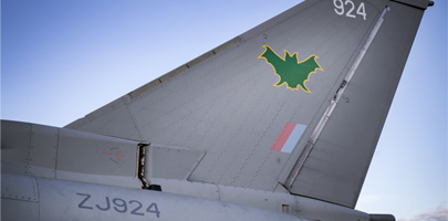 Image shows an RAF Lossiemouth Typhoon recently painted with the IX(B) Squadron markings.