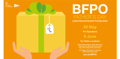 Image shows poster for Father's Day BFPO posting dates