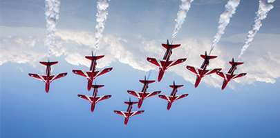 Image shows the jets performing a diamond nine formation.