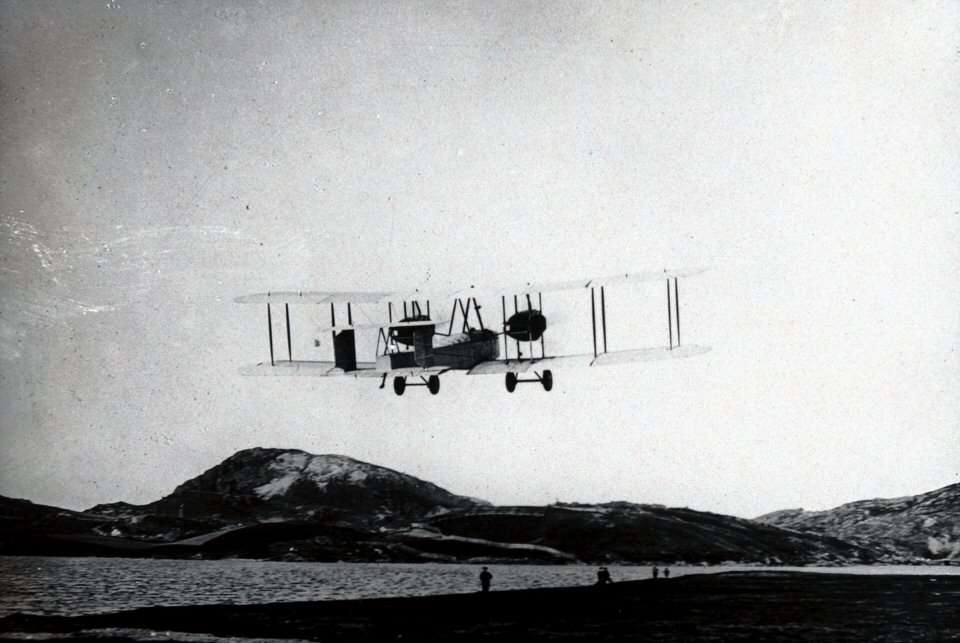 Alcock and Brown depart from Newfoundland at the start of their epic flight.