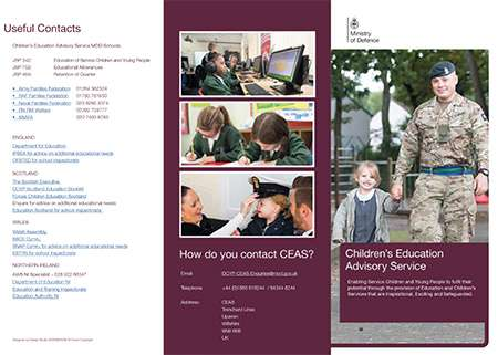 Image of leaflet has useful contacts, what CEAS can help with and top tips.