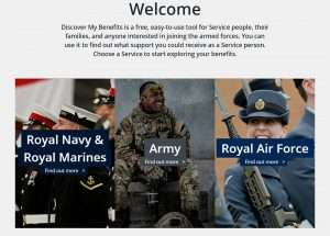 Screenshot of the Discover my Benefits header.