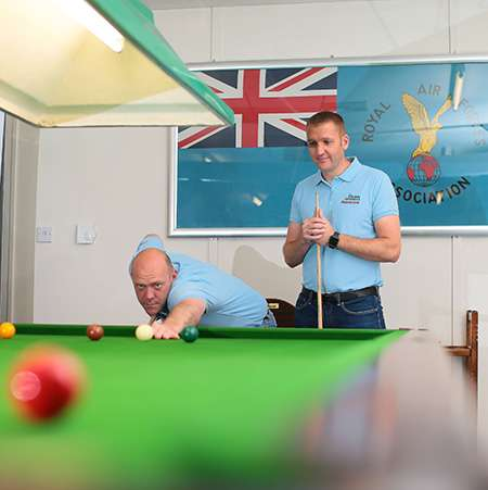 Image shows Chris and Joel at the snooker table