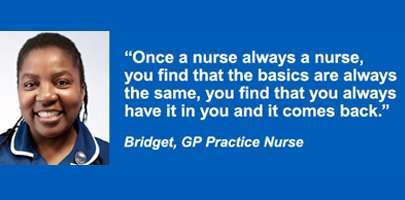Image shows NHS employee Bridget - quote