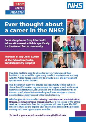 Front page of a 2 page poster advertising this step into health employment event on 11th July