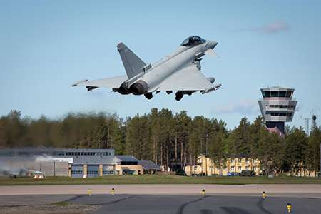 PICTURED: Take-off photo 30 May, 2019 - RAF Eurofighter Typhoon FGR4 taking off at Lulea-Kallax airport.   Royal Air Force aircraft and personnel have begun an exercise in Sweden alongside eight other nations to train together in building collective security. Exercise Arctic Challenge is one of Europe's largest air force exercises with 140 aircraft and 4000 troops from the UK (RAF), Sweden, Finland, Norway, Denmark, France, Germany, the Netherlands and USA, supported by NATO assets, coming together from 22 May – 4 June, 2019 to test their effectiveness in a realistic threat environment.  Based at Luleå-Kallax Airport, the RAF is contributing 155 personnel and seven aircraft to the exercise: five typhoon fast-jets, one Hercules tactical transport aircraft and one Voyager transport aircraft. Photos by SAC Anna Lythgoe RAuxAF.