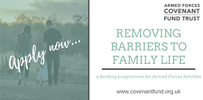 Image shows REMOVING BARRIERS TO FAMILY LIFE logo