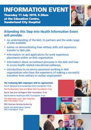 Page 2 of a double-page poster advertising this step into health employment event on 11th July