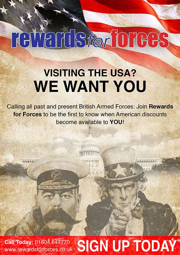 Poster for Rewards for Forces USA benefits