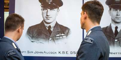 Members of the University of Wales Air Squadron at the Alcock and Brown exhibition at Swansea Museum