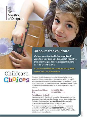 Working parents with children aged 3 and 4 years have now been able to access 30 hours free childcare in England and in overseas location since 1 September 2017.